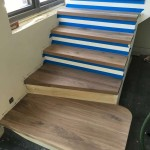 New walnut staircase treads - Before